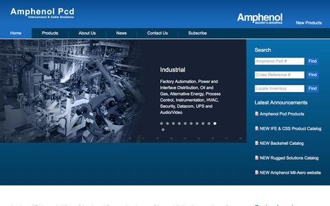Screenshot of Home Page amphenolpcd.com - Amphenol PCD   - captured July 29, 2018