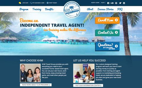 Screenshot of Home Page khmtravel.com - How to Become a Travel Agent | Start a Travel Agency - KHM Travel - captured Sept. 25, 2014