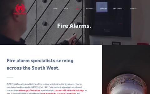 Screenshot of Services Page apefireandsecurity.co.uk - Fire Alarm Systems | Fire Alarm Supplier & Installation Bristol | A.P.E Fire & Security - captured Oct. 2, 2018