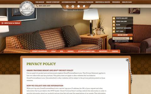 Screenshot of Privacy Page grandtraverseresort.com - Grand Traverse Resort & Spa in Traverse City Michigan - captured Sept. 23, 2014