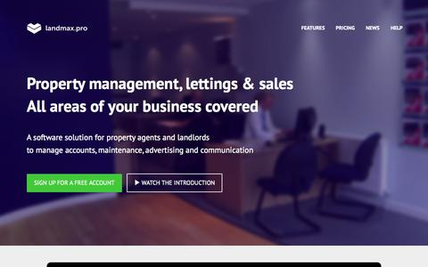 Screenshot of Home Page landmax.pro - landmax.pro is a software solution for property agents and landlords - captured Oct. 6, 2014