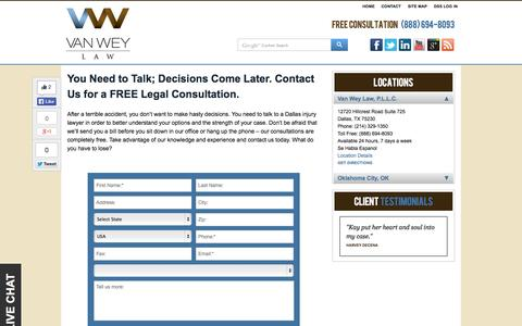 Screenshot of Contact Page Locations Page vanweylaw.com - Contact | Dallas Personal Injury Lawyer | VanWey Law | Van Wey Law, P.L.L.C. - captured Oct. 24, 2014