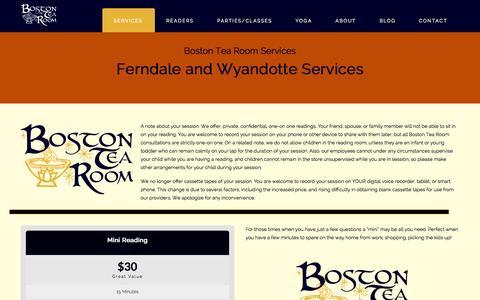 Screenshot of Services Page bostontearoom.com - Boston Tea RoomServices | Boston Tea Room - captured Sept. 30, 2014