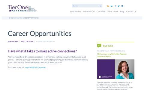 Screenshot of Jobs Page tieronepr.com - Career Opportunities | Tier One - captured Nov. 18, 2018