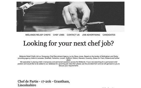 Screenshot of Jobs Page midlandsreliefchefs.co.uk - Chef Jobs UK | Head Chef Jobs | Chef De Partie Jobs | Chef Recruitment Agency - captured Oct. 22, 2018