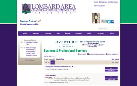 Screenshot of Services Page lombardchamber.com - Business & Professional Services - PublicLayout - Lombard Area Chamber of Commerce and Industry, IL - captured Sept. 30, 2018