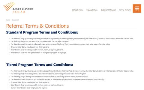 Screenshot of Terms Page bakerelectricsolar.com - Referral Terms & Conditions | Baker Electric Solar - captured June 4, 2017