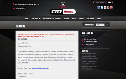 Screenshot of Jobs Page cityhonda.com - Find a career with City Honda   City Honda - captured Oct. 28, 2014