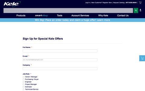 Screenshot of Signup Page kele.com - Kele.com Special Offers Opt-In - kele.com - captured Nov. 8, 2018