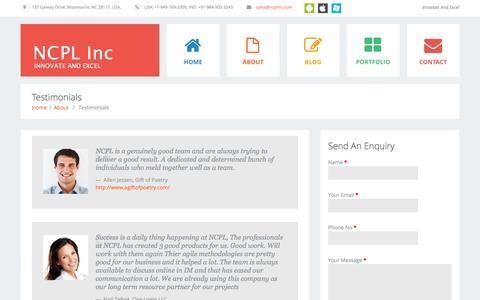 Screenshot of Testimonials Page ncplinc.com - Testimonials     NCPL Inc - captured Oct. 7, 2014