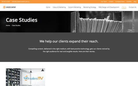 Screenshot of Case Studies Page curatedcontentagency.com - Case Studies - Curated Content - captured July 18, 2016