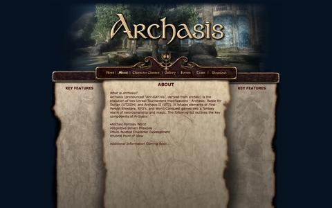Screenshot of About Page archasis.com - Archasis - About - captured Oct. 4, 2014