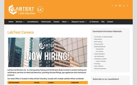 Screenshot of Jobs Page labtestcert.com - LabTest Careers | - captured Nov. 12, 2018