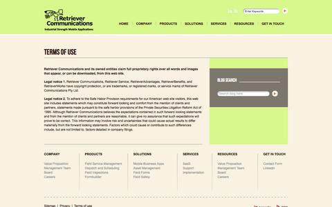 Screenshot of Terms Page retrievercommunications.com - Terms Of Use - Retriever CommunicationsRetriever Communications - captured Aug. 18, 2018