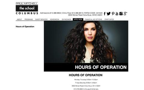 Screenshot of Hours Page paulmitchell.edu - Paul Mitchell the School Columbus | Hours of Operation | Hair Salon | Beauty Salon | Hair Cuts - captured Oct. 29, 2014
