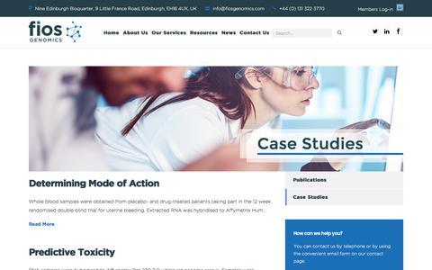 Screenshot of Case Studies Page fiosgenomics.com - Case Studies - Fios Genomics - captured Oct. 13, 2017