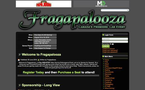 Screenshot of Home Page fragapalooza.com - Fragapalooza - Home - captured Aug. 17, 2018