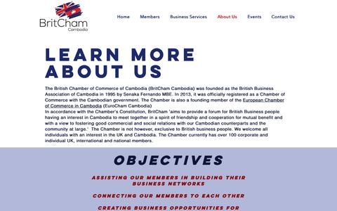 Screenshot of About Page Press Page britchamcambodia.org - BritCham Cambodia: About Us - captured Oct. 6, 2018