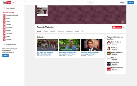 Screenshot of YouTube Page youtube.com - FranklinVideoInc  - YouTube - captured Oct. 25, 2014