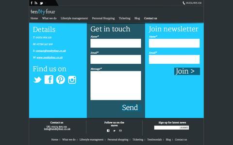 Screenshot of Contact Page ten8tyfour.co.uk - Ten 8ty Four - captured Oct. 25, 2014