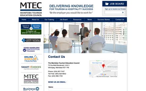Screenshot of Contact Page mtec.mb.ca - Contact Us - Manitoba Tourism Education Council - captured Oct. 2, 2018