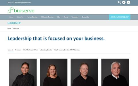 Screenshot of Team Page bioserve.com - Leadership | Samples & Molecular Services | BioServe.com - captured June 1, 2017