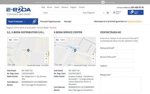 Screenshot of Contact Page e-boda.ro - Contact - captured Oct. 16, 2016