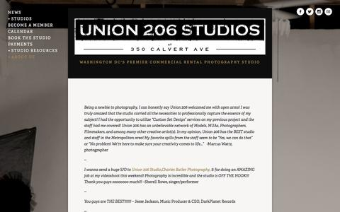 Screenshot of Testimonials Page union206.com - Testimonials — Union 206 Studios - captured Oct. 27, 2014