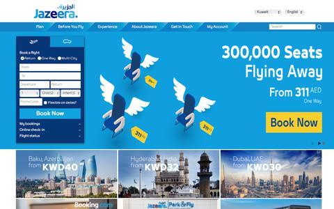 Screenshot of Home Page jazeeraairways.com - Flight Tickets & Flight Offers - Book Online   Jazeera Airways - captured Sept. 20, 2018