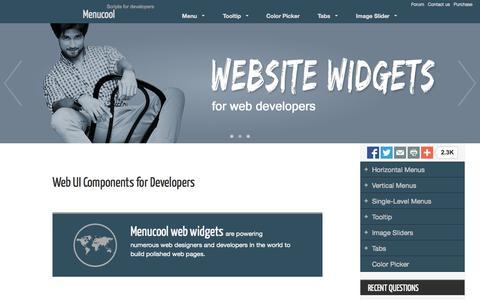 Screenshot of Home Page menucool.com - Web UI Components for Developers - captured Sept. 18, 2014