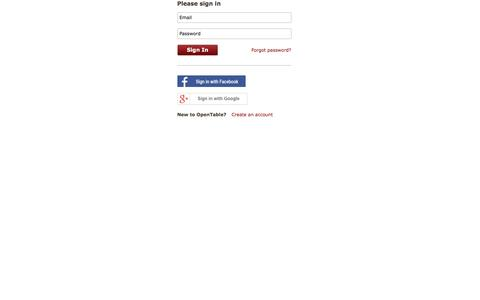 Screenshot of Login Page opentable.com - OpenTable - captured March 28, 2016