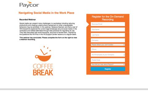 Screenshot of Landing Page paycor.com - Paycor Web Summit: Navigating Social Media in the Work Place - captured Aug. 19, 2016
