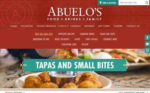 Screenshot of Menu Page abuelos.com - Tapas and Small Bites - Abuelo's - Americas #1 Mexican Restaurant, Food + Drinks + Family - captured Sept. 22, 2018