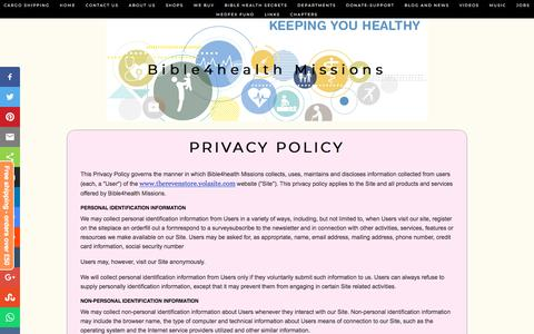 Screenshot of Privacy Page bible4healthmissions.com - Bible4health Missions - captured Aug. 2, 2018