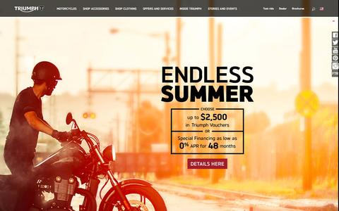 Screenshot of Home Page triumphmotorcycles.com - Triumph Motorcycles USA | Triumph Motorcycles - captured Oct. 8, 2015