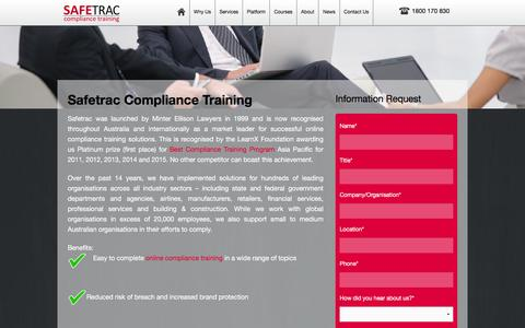 Screenshot of About Page safetrac.com.au - Safetrac Compliance Training | Safetrac - captured Dec. 19, 2015