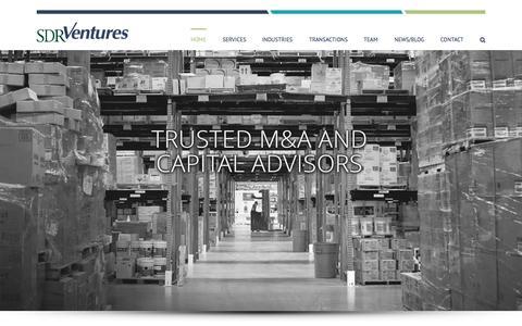 Screenshot of Home Page sdrventures.com - SDR Ventures | Denver Investment Bank to the Middle Market - captured Sept. 16, 2015