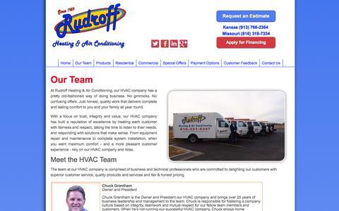 Screenshot of Team Page rudroffheating.com - Our Kansas City HVAC Company's Team - captured Oct. 6, 2014