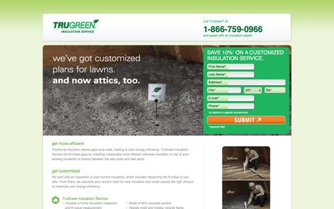Screenshot of Landing Page trugreen.com - TruGreen | Save 10% on a Customized Insulation Service - captured May 21, 2016
