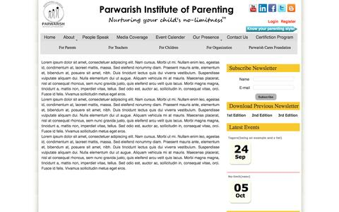 Screenshot of Privacy Page parwarish.co.in - Parwarish Institute of Parenting - Privacy policy - captured Oct. 23, 2016