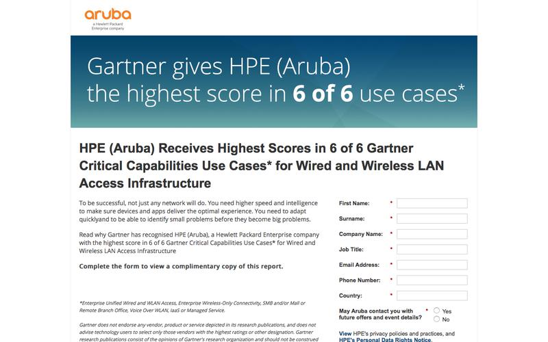 Gartner Critical Capabilities for Wired and Wireless LAN Access Infrastructure Report 2017