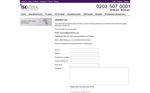 Screenshot of Contact Page medical-interviews.co.uk - ISC Medical - Contact Us - captured Oct. 6, 2014
