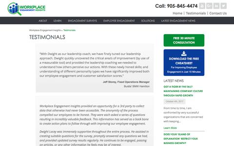 Screenshot of Testimonials Page workplaceengagementinsights.com - See What Clients Say About Workplace Engagement Insights - captured Nov. 6, 2017