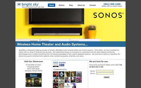 Screenshot of Home Page brightskyhome.com - BrightSky » Home Entertainment & Control Made Simple - captured Oct. 5, 2014