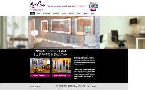 Screenshot of Home Page art-plus.com - Art Plus - Corporate Art Consultants Springfield NJ - captured Sept. 30, 2014
