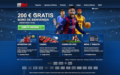 Screenshot of Home Page 10bet.com - Apuestas Deportivas 10Bet – Grandes probabilidades, ofertas y consejos - captured Aug. 4, 2015