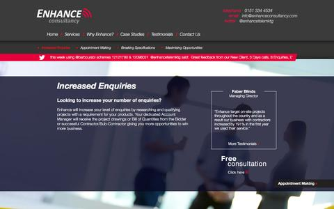 Screenshot of Services Page enhanceconsultancy.com - Increased Enquiries | Enhance Consultancy - captured Jan. 29, 2016