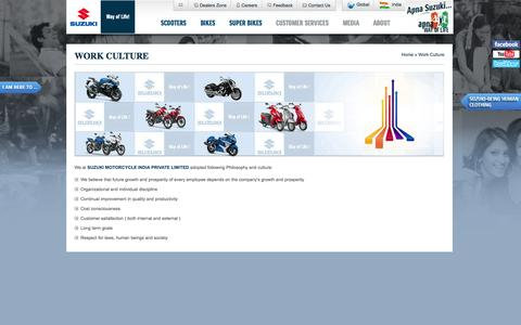 Screenshot of Jobs Page suzukimotorcycle.co.in - Work Culture | Suzuki Motorcycle India  Private Limited - captured Oct. 31, 2014