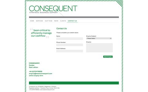 Screenshot of Contact Page weareconsequent.com - CONSEQUENT Strategic Business Support Scotland - Contact Us - captured Oct. 2, 2014