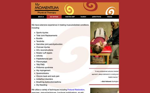 Screenshot of Services Page momentumpt.net - Momentum Physical Therapy - captured Oct. 18, 2018